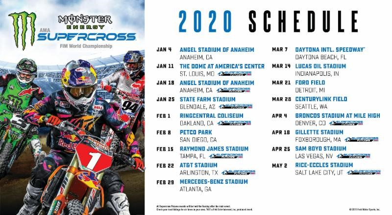 Calendrier Magny Cours 2020.Le Calendrier Monster Energy Supercross 2020 Devoile Mx24
