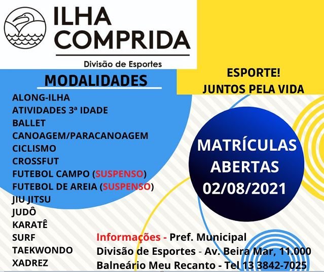 Ilha Comprida anuncia a retomada das atividades esportivas presenciais em doze modalidades