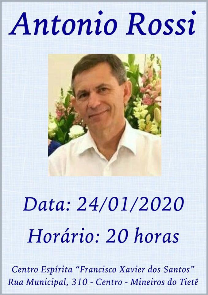 Palestrante de hoje: ANTÔNIO ROSSI