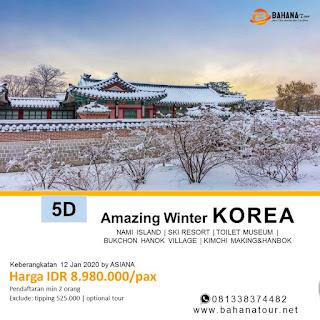 Paket Tour Korea 5 Hari 3 Malam Januari 2020 Bahana Tour