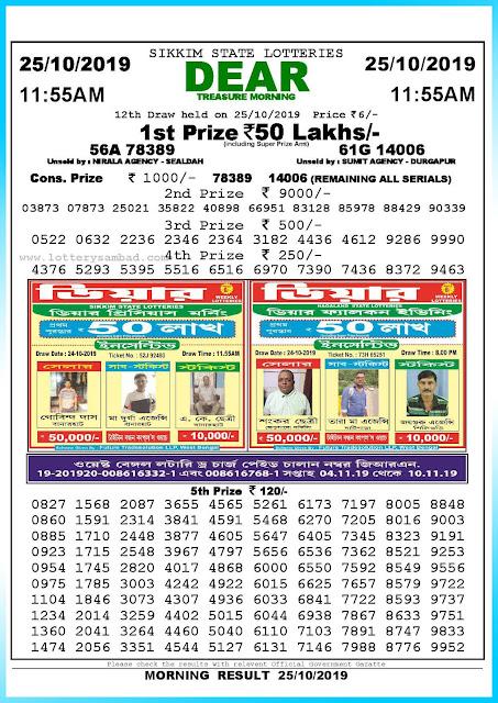 Lottery Sambad 25-10-2019 Sikkim Lottery Result 11.55 AM-sambadlottery.org