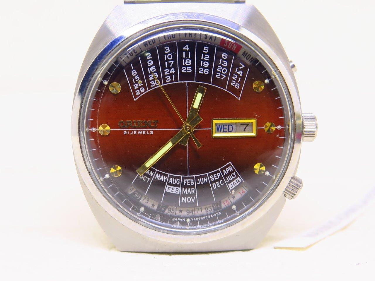 ORIENT BIG CASE CALENDAR SUNBURST BROWN DIAL - AUTOMATIC - NOS