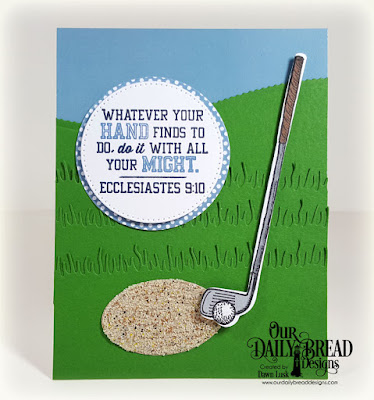Our Daily Bread Designs Stamp/Die Duos: Golf, Paper Collection: Old Glory, Custom Dies: Circles, Pierced Circles, Ovals, Grass Lawn, Leafy Edged Borders