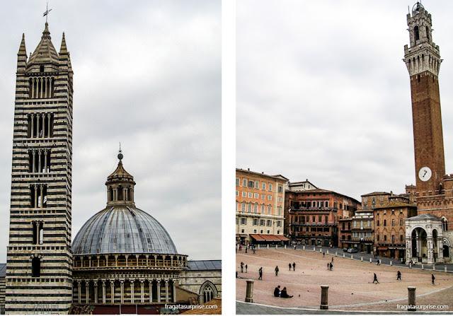 Siena, Itália: a torre da Catedral e a Torre del Mangia