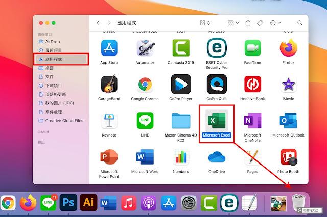 【MAC 幹大事】如何移除 Mac 用不到的 APP 應用程式 / 軟體? - 利用 Finder 找到應用程式,再將它拖曳到垃圾桶刪除