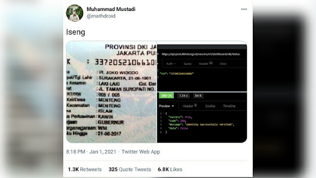 Netizen Heboh 'NIK' Jokowi Tak Masuk Penerima Vaksin Corona Tahap Pertama