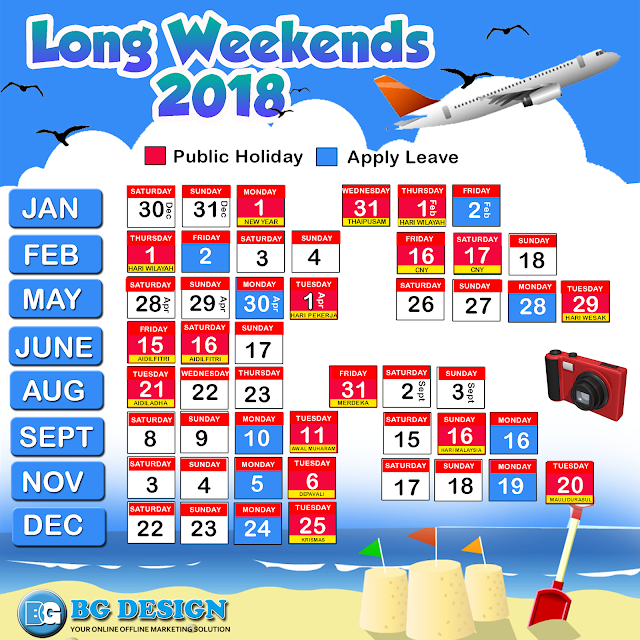 Long Weekend 2018 - Jom Plan holiday next year!