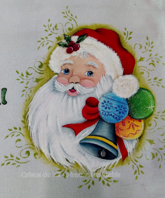 pintura em tecido Papai Noel com sino e bolas de Natal