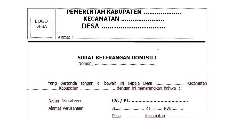 Contoh Surat Keterangan Domisil Perusahaan Dari Desa Contoh Surat