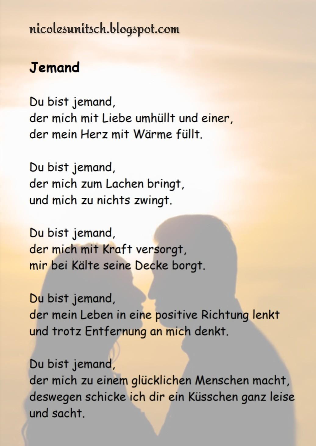 Gedichte Von Nicole Sunitsch Autorin Jemand Gedicht Von