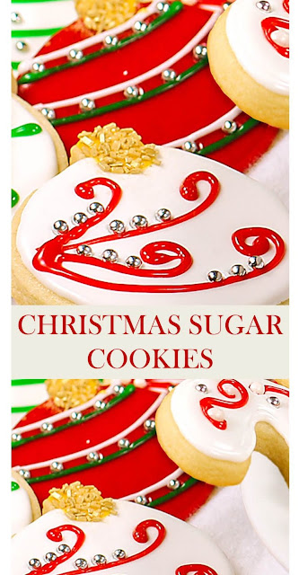 CHRISTMAS SUGAR COOKIES (CUT OUT COOKIES) #SugarCookies #ChristmasSugarCookies #CutOutCookies #Christmas Less
