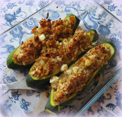 Stuffed Zucchini with Toasted Walnuts & Feta
