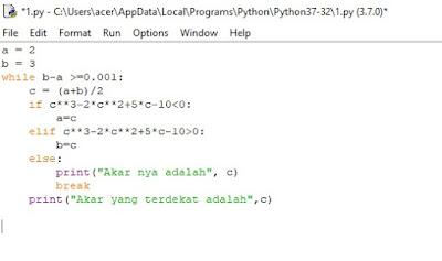 code untuk metode bagi dua python