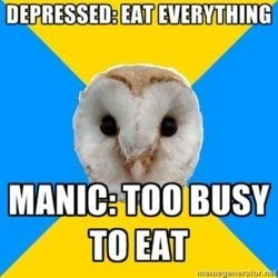 depression vs mania eating habits meme