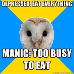 depression vs mania eating habits meme