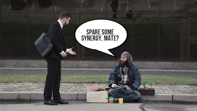Spare some synergy homeless graduate trainee photo