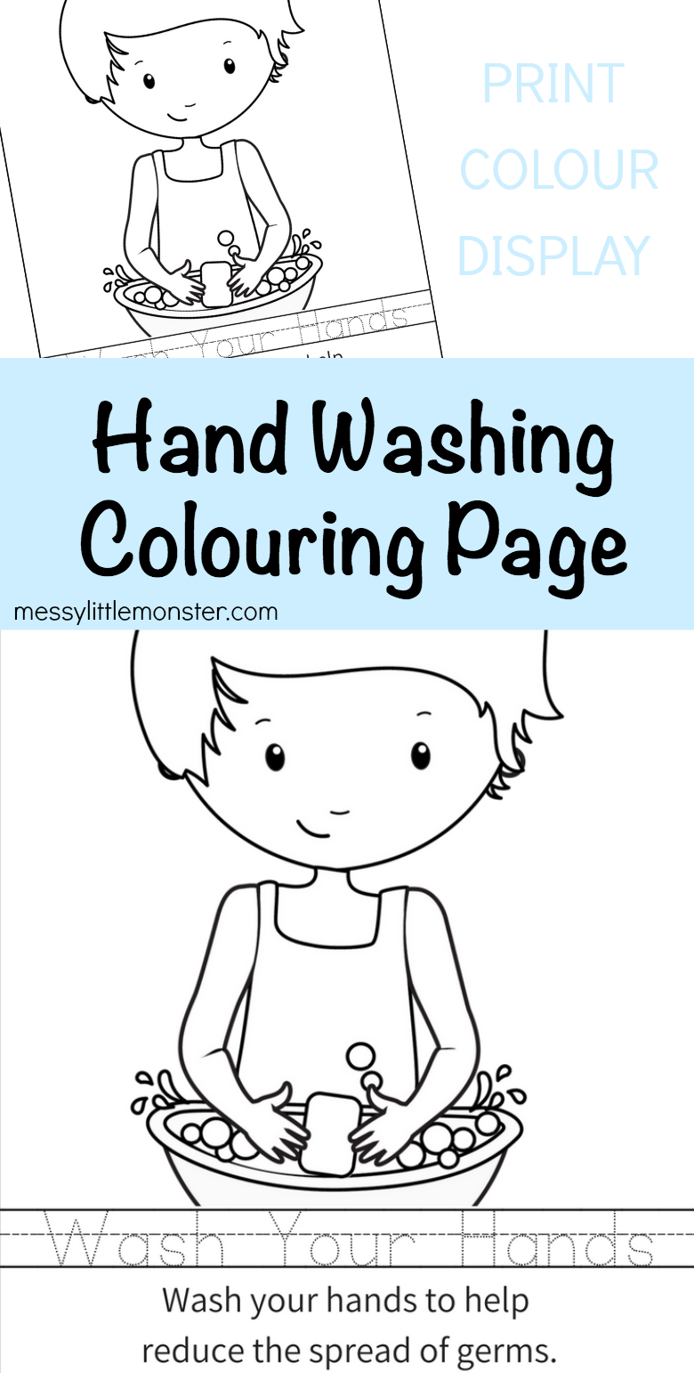Printable hand washing colouring page for kids