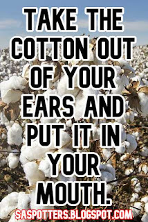 Take the cotton out of your ears and put it in your mouth.