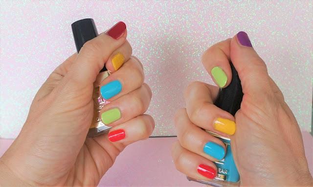 ongles multicolores acidulés