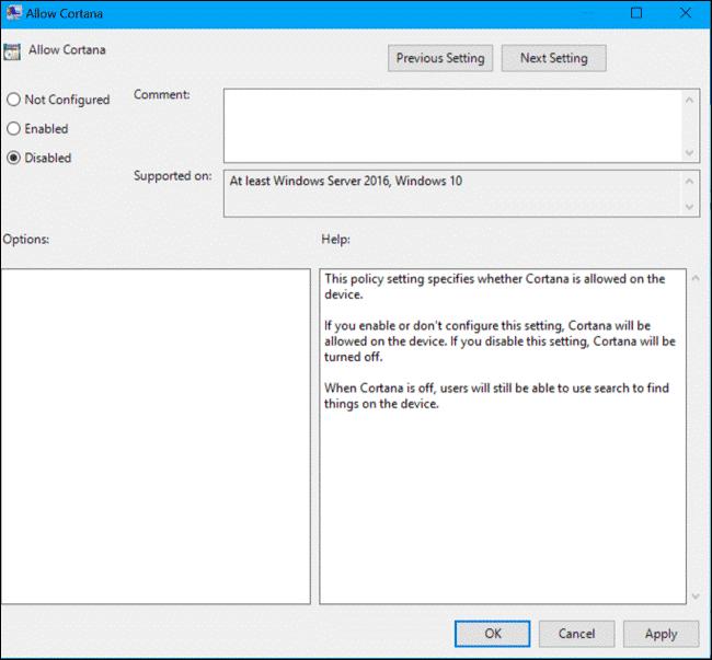 Tắt trợ lý ảo Cortana trên Windows 10 Pro và Enterprise