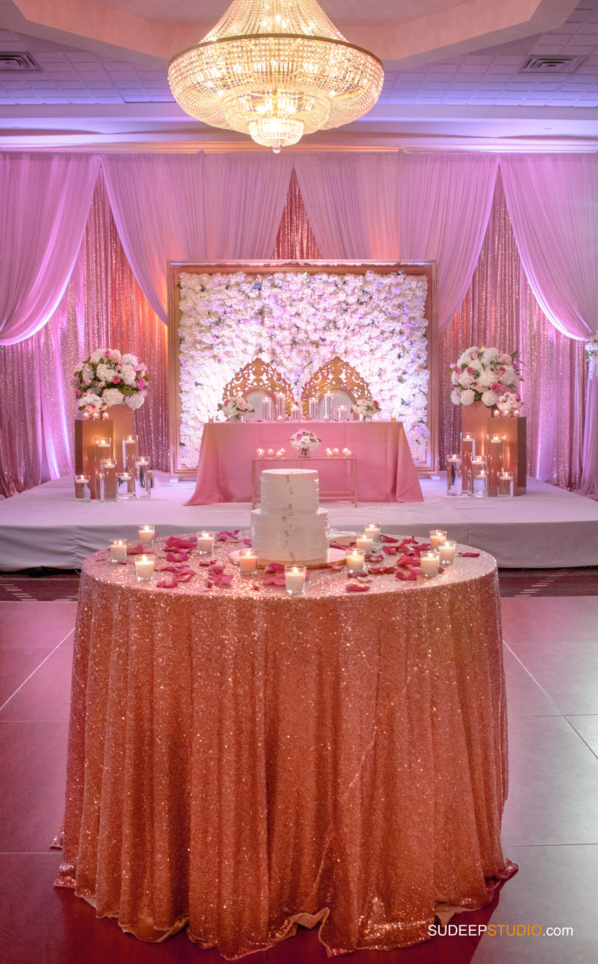 Indian Wedding Decorations Pink Theme at Eagle Crest Marriott SudeepStudio.com Ann Arbor South Asian Indian Wedding Photographer