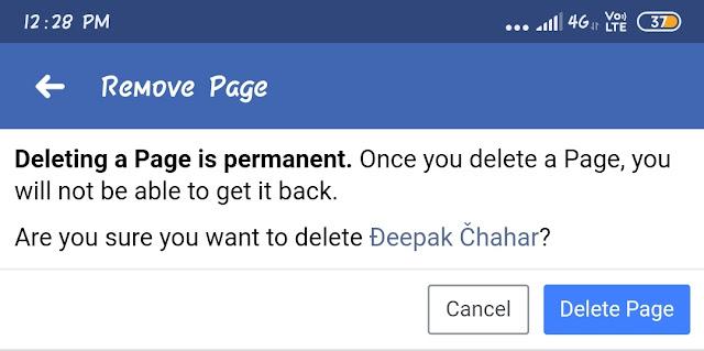 Facebook page delete