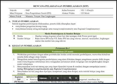 Download RPP Ilmu Pengtahuan Sosial (IPS) Kelas 7 Semester 1 Tahun 2021