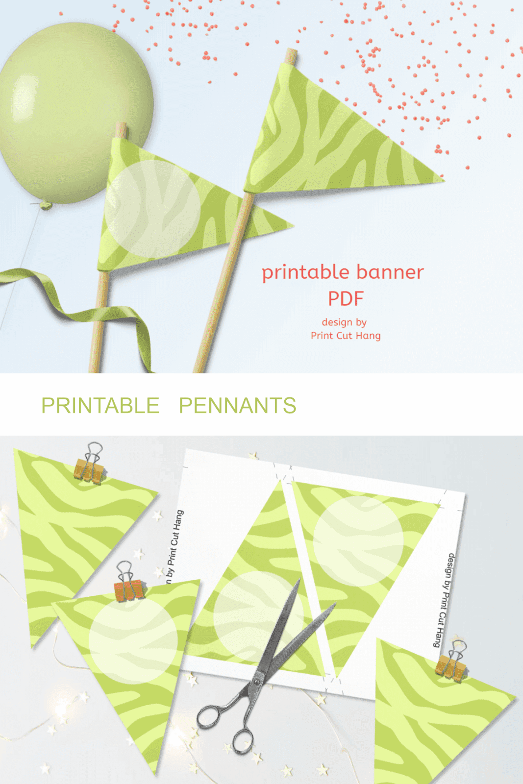 LIGHT GREEN ZEBRA PENNANTS