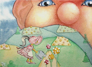 The Giant's Candy Maker Watercolor Illustration Painting