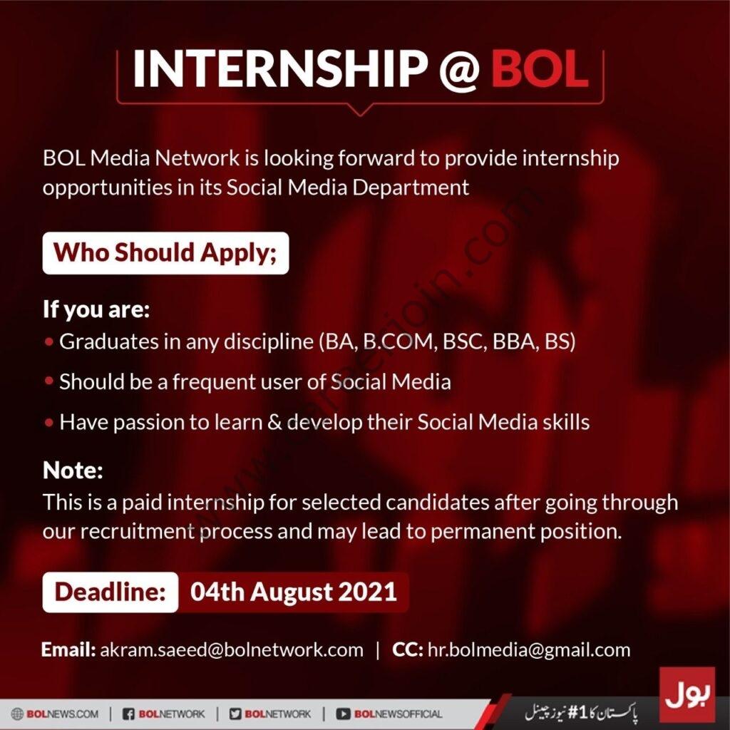 bolnetwork.com - BOL Media Network Internship 2021 in Pakistan