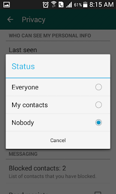 Changing Visibility of WhatsApp status