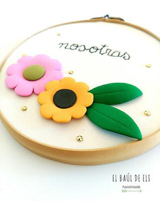 bastidor, diseño flores, goma eva