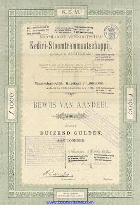 aandeel uit 1895 van de Kediri-Stoomtrammaatschappij, Kediri Steam Tramway Company share from 1895