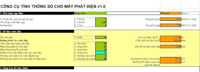 Công thức tính thông số cho máy phát điện gió( Cực chuẩn)