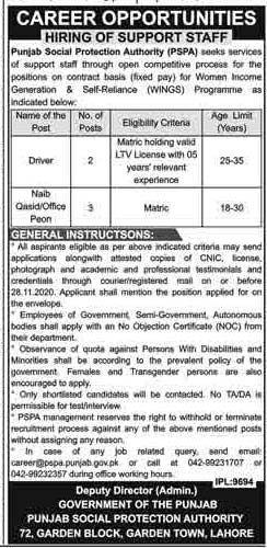 Jobs in Punjab Social Protection Authority (PSPA) Nov 2020