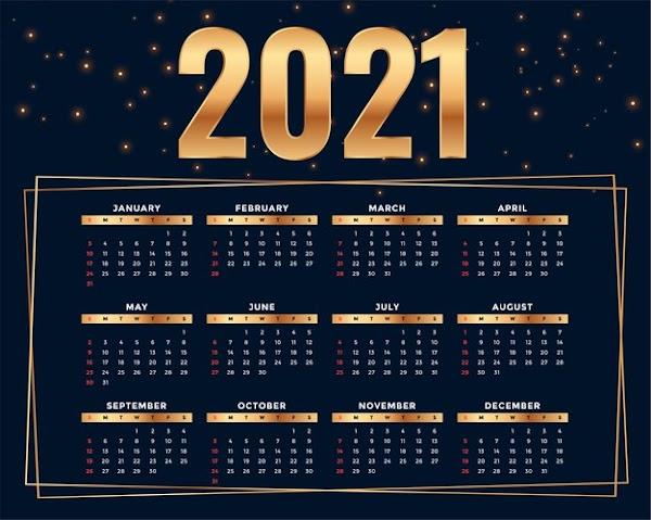 Plantilla de calendario 2021 de diseño con estilo dorado