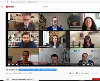 Screenshot of open forum #16 participants of IGF 2020