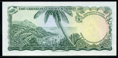 Caribbean money Currency 5 Dollars banknote bill