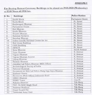 DoPT 2020 - Early Closure of Central Government Offices in connection with Republic Day Parade and Beating Retreat Ceremony during January, 2020