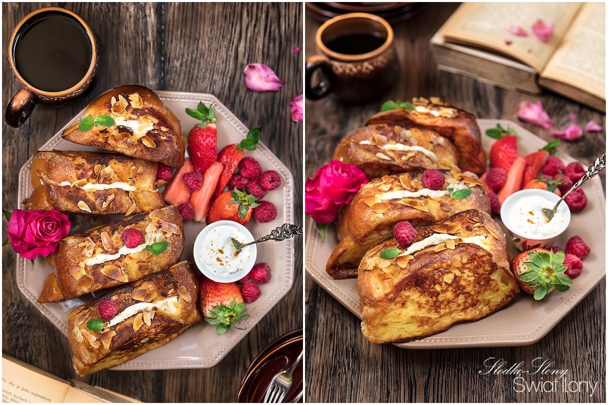 tosty francuskie nadziewane kremowym serkiem