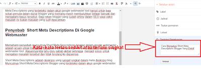 Penyebab  Short Meta Descriptions Di Google Webmaster