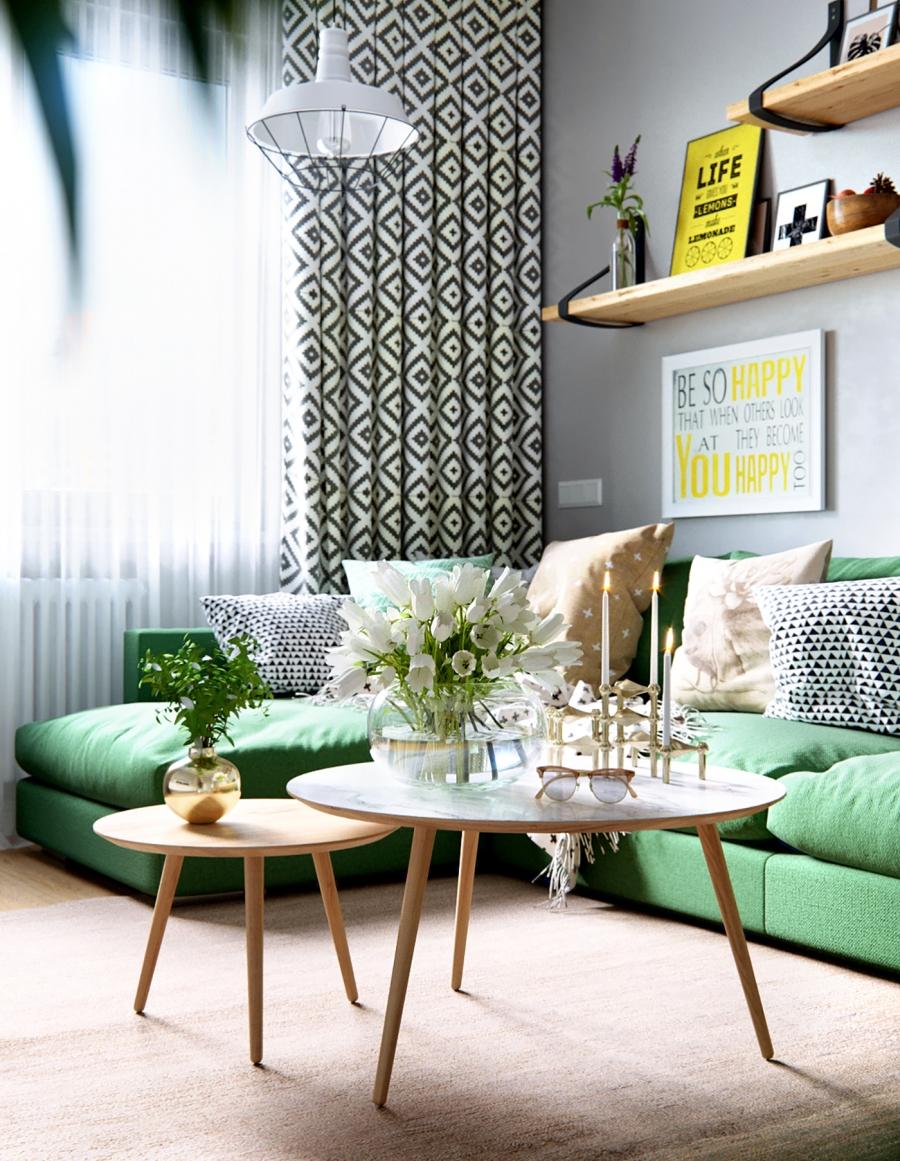 Stylowa aranżacja mieszkania z kolorowymi detalami - wystrój wnętrz, wnętrza, urządzanie mieszkania, dom, home decor, dekoracje, aranżacja wnętrz, minty inspirations, styl skandynawski, nowoczesne wnętrze, naturalne drewno, kolorowe akcenty, geometryczne wzory, stylowe wnętrze, salon, pokój dzienny, living room, zielona sofa, kanapa, fotel z podnóżkiem, szary salon, stolik kawowy