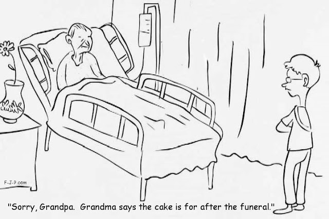 Funny old man dying cartoon joke picture