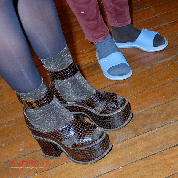 Chocolate Platform Heels lurex socks, blue slip ons - Shoe Porn - the corner cooperative, Head On Photo Festival