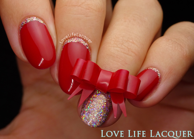 Christmas Glitter Bow Nail art