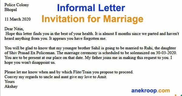 informal letter invitation for marriage