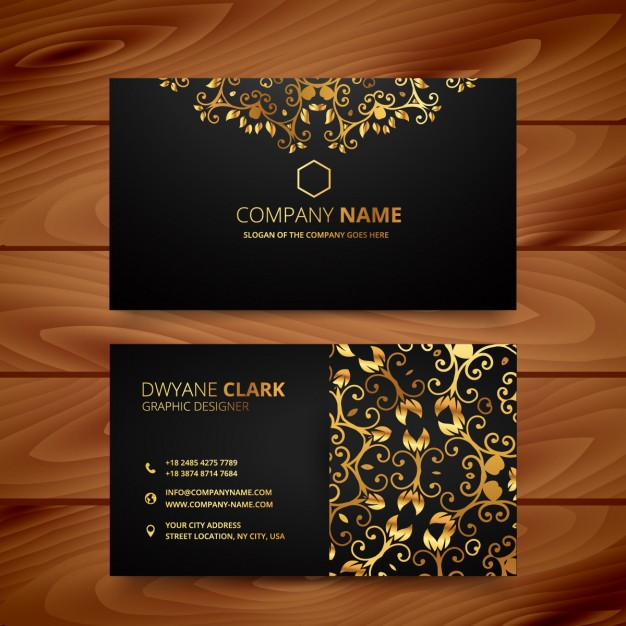 Luxury business card with golden ornaments Free Vector