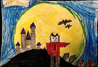 2D Shapes with Halloween Drawing