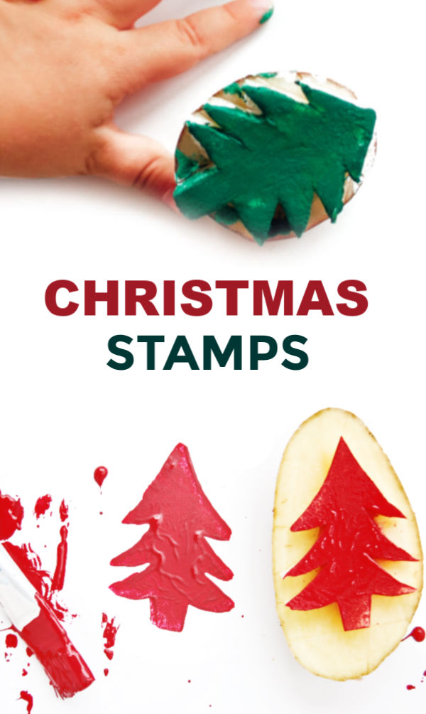 Make beautiful arts and crafts this holiday using homemade potato stampers. #potatostamp #potatostampart #potatostamping #potatostampsforkids #potatostampchristmas #christmascrafts #christmasstamps #christmaspotatostamp #diystampsforkids #growingajeweledrose #activitiesforkids
