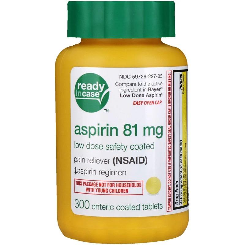 Life Extension, Аспирин, низкая доза с защитным покрытием, 81 мг, 300 таблеток, покрытый кишечнорастворимой оболочкой